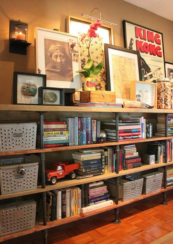 Kệ gỗ pallet và ống để sách chắc chắn
