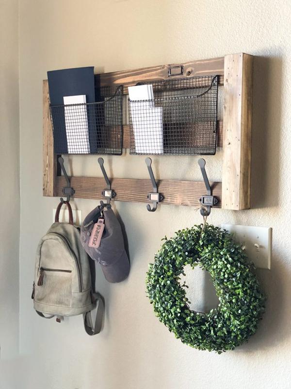Kệ treo và giỏ kết hợp để thư từ, đồ dùng nhỏ